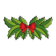 leafs with bow christmas decoration icon