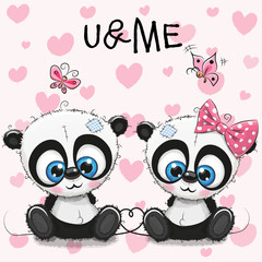 Two cute Pandas on a hearts background