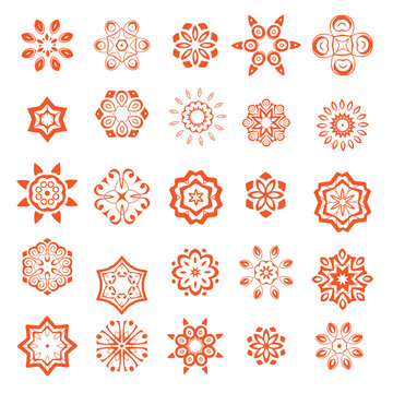Set of mandalas. Collection of stylized vector ornaments. Simple design elements.
