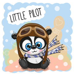 Cartoon Panda in a pilot hat
