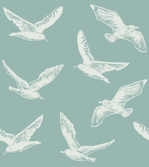 Seamless Pattern with Seagulls. Graphic Hand Drawn Background for Banners Web pages Scrap booking Paper Wallpaper. Vector Illustration with Flying Birds