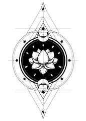Lotus and Sacred Geometry. Ayurveda symbol of harmony and balance, and universe. Tattoo flesh design, yoga logo. Boho print, poster, t-shirt textile. Isolated vector illustration.