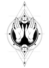 Female open hands over sacred geometry design elements. Alchemy, philosophy, spirituality symbols. Black, white vector illustration in vintage isolated