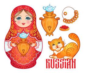 Retro Souvenir from Russia: babushka (matryoshka), red cat, samovar, bublik (bread roll). Traditional Russian wooden nesting doll. Folk arts and crafts. Vector illustration.