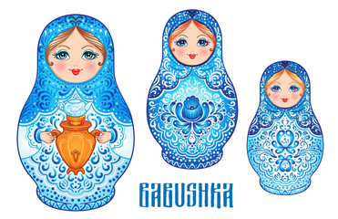 Babushka (matryoshka), traditional Russian wooden nesting doll decorated with painted flowers. Folk arts and crafts. Vector illustration in cartoon style isolated on white.
