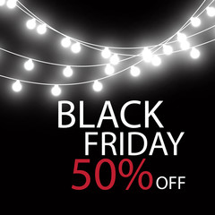 Black Friday Sale handmade lettering, calligraphy with garland and dark background for logo, banners, labels, badges, prints, posters, web. Vector illustration.