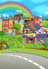 Wall Murals Rainbow cartoon scene of a city stage for different usage - illustration for children