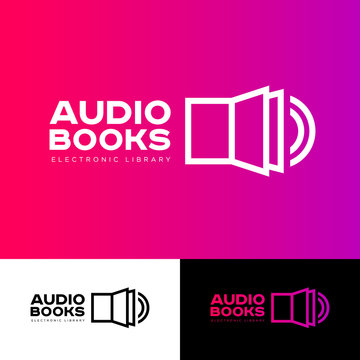Audio book logo. The book icon and sound icon are connected. Literature emblem. Electronic audio library logo. Open book and sound. Identity