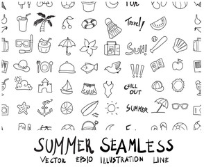 Doodle sketch summer icons seamless pattern background Illustration eps10