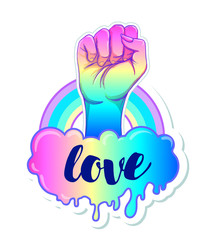 Equal love. Inspirational Gay Pride poster with rainbow spectrum colors. Homosexuality emblem. LGBT rights concept. Sticker, patch, poster. Vector illustration of hand fist raised up.