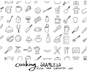 Doodle sketch cooking icons background seamless pattern Illustration vector eps10