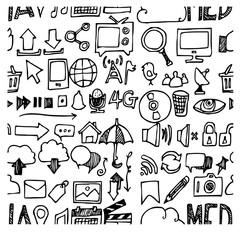 media doodle sketch background seamless vector ink eps10