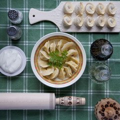 dumplings, traditional Russian dish boiled dough with meat filling