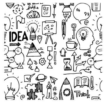 idea doodle sketch background seamless vector ink eps10