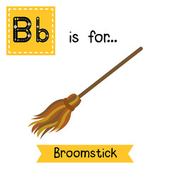 Cute children ABC alphabet B letter tracing flashcard of Broomstick for kids learning English vocabulary in Happy Halloween Day theme.