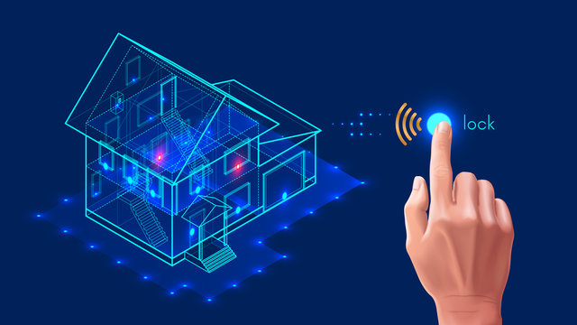 Security system of smart home. 3d house plan x-ray. Control locks the doors and windows over the internet with smartphone application. Home protection wireless system. VECTOR