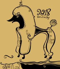 Poodle. Black tracery graphics on a golden background. Year of the dog. 2018. Illustration of a funny curly-haired dog.