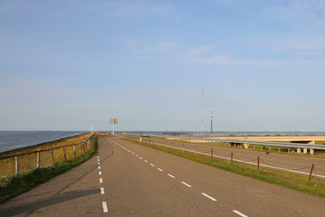 dam in the Netherlands with the highway