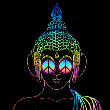 Peace and Love. Colorful Buddha in rainbow glasses listening to the music in headphones. Vector illustration. Hippie peace sign on sunglasses. Psychedelic concept. Buddhism, trance music.