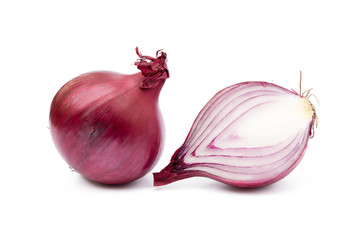 Fresh onion isolated on a white background