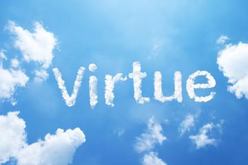 Virtue cloud word on sky.