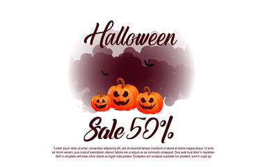 Halloween sale banners with pumpkins.