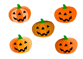 5 style of pumpkin for Halloween concept.