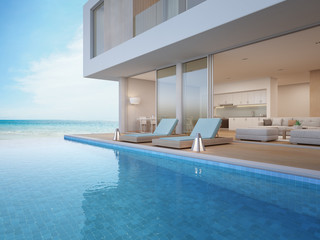Luxury beach house with sea view swimming pool and terrace near living room in modern design, Vacation home or holiday villa for big family - 3d illustration of contemporary residential building