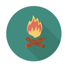Fire. Single flat color icon with long shadow. Vector illustration.