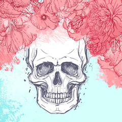 Fotorolgordijn Aquarel schedel Human skull with peony, rose and poppy flowers on watercolor background.Tattoo design element. Vector illustration.