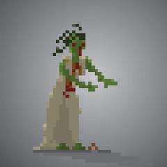 Bride Zombie pixel 8 bit vector illustration.