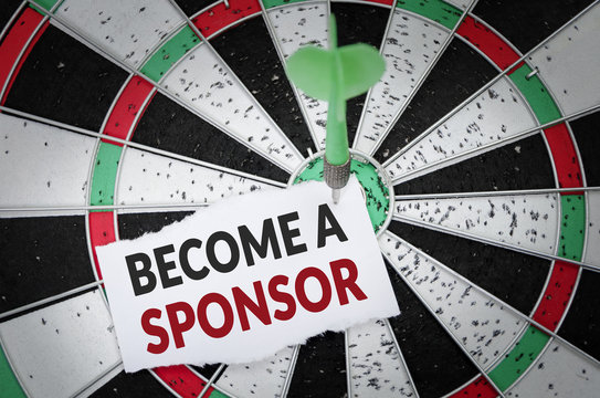 Become a sponsor note on notepaper with dart arrow and dart board. Marketing, advertisement, business concept.