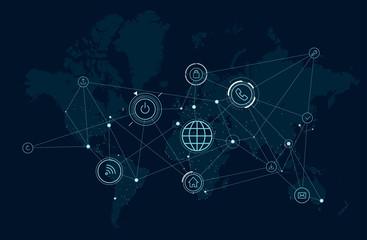 Communications network map of the world, data process activity, wireless technologies