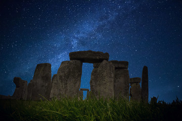 Starry Night Stonehenge - one of the wonders of the world and the best-known prehistoric monument in Europe Salisbury, United Kingdom Wall mural