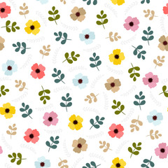Floral seamless pattern with leaves and flowers. Cute spring floral background with decorative elements for your design