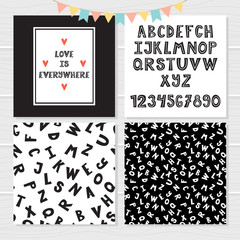 Funny hand drawn English alphabet. Cute letters and numbers. Seamless pattern with letters. Stylish background