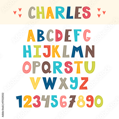 Funny Colorful Hand Drawn English Alphabet Cute Letters And Numbers Font
