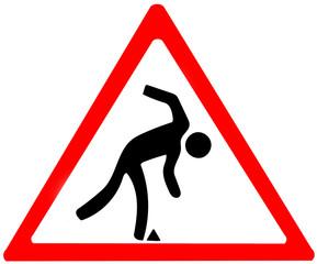 danger of falling warning.Red triangular warning symbol sign on white background.