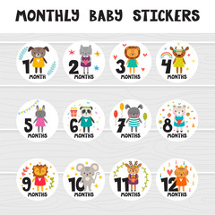 Monthly baby stickers for little girls and boys. Month by month growth stickers for clothing. Great baby shower gift. Cute cartoon animals