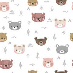 Tribal seamless pattern with cartoon bears. Abstract geometric art print. Hand drawn ethnic background with cute animals