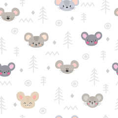 Tribal seamless pattern with cartoon mouses. Abstract geometric art print. Hand drawn ethnic background with cute animals