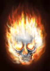 Skull fiery painting illustration.