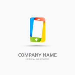 Abstract mobile phone symbol and logo template