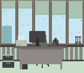 The New Year office on a light green background. Vector illustration. Table, chair, folders, large windows, protective blinds, boxes, Christmas tree with red and blue balls