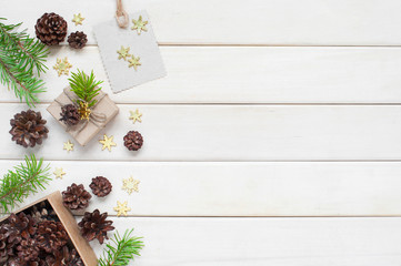 White wooden background with Christmas or New Year decoration
