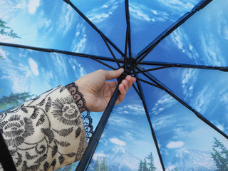 The hand holding the umbrella.