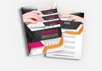 Brochure Cover Layout with Pink and Orange Accents