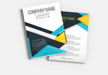 Brochure Cover Layout with Blue and Yellow Accents 4