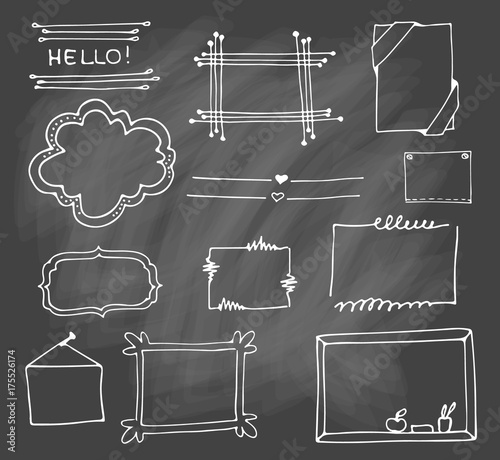 Set Of Hand Drawn Doodle Frames In Vector Cartoon Style Isolated