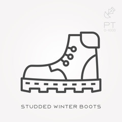 Line icon studded winter boots
